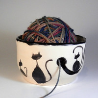 Black Cats Silhouette Ceramic Yarn Bowl