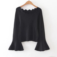 Black Scallop Trim Bell Sleeve Sweater