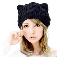 Cocobla Women's Hat Cat Ear Crochet Braided Knit Caps