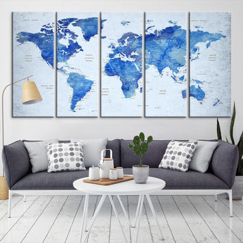 92200 - Large Wall Art World Map Canvas Print- Custom World Map Push Pin Wall Art- Custom World Map Canvas Poster Print- Personalized Wall Art
