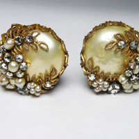 DeMario Earrings in Baroque Style with Faux Pearls and Rhinestones, Signed Vintage Jewelry