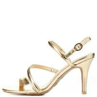 Bamboo Curvy Metal-Plated Strappy Heels by Charlotte Russe