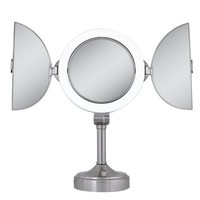 Zadro Surround Light Dual Sided Lighted Fluorescent Pivoting Mirror, Satin Nickel