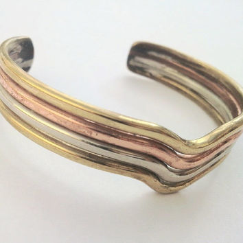 Slave bangle in multi metal tones, brass copper silver. Tri-colour bracelet. Gift idea. -REDUCED