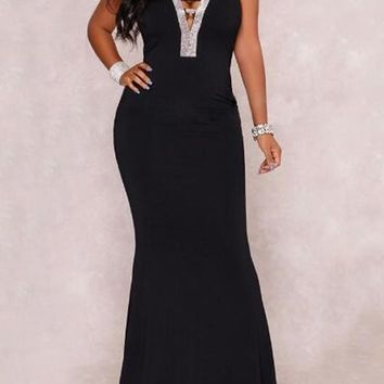 Black Rhinestone Cross Back Backless Deep V-neck Mermaid Cocktail Party Maxi Dress