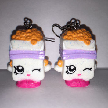 Shopkins Foodie Earrings - Breaky Crunch [glitter] - made with repurposed toys