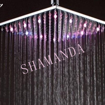 10 Inch Led Shower Head W/ Brass 250Mm Rainbow Colors Showing Gradually As Time Changes 20013