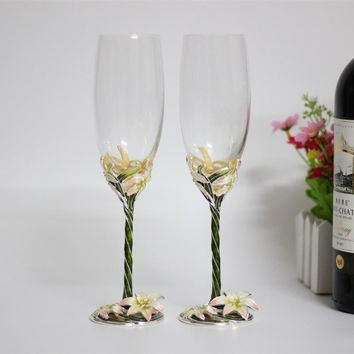 enamel wine glasses flower crystal flutes