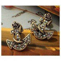 Retro and Chic Style Anchor Pattern and Faux Jewels Decorated Earrings China Wholesale - Sammydress.com