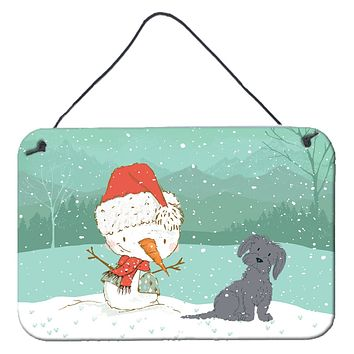 Black Maltese Snowman Christmas Wall or Door Hanging Prints CK2092DS812