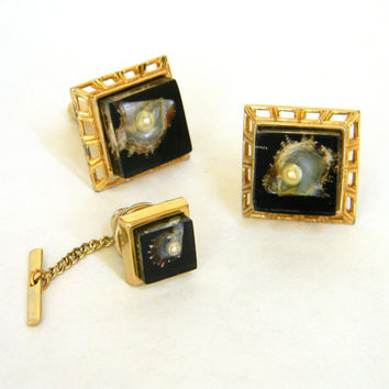Vintage Cufflinks and Tie Pin  Oyster with by Mylittlethriftstore