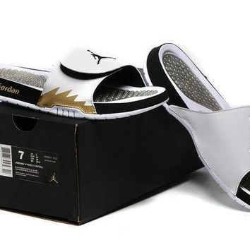 PEAPGE2 Beauty Ticks Nike Jordan Hydro 5 White/gold Sandal Sandals Slipper Shoes Size Us 7-11