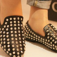 Stylish Black Shoes with Rivets from ABIGALE