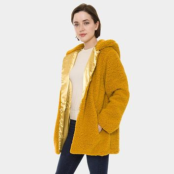Soft Sherpa Fleece Pockets Hooded Poncho