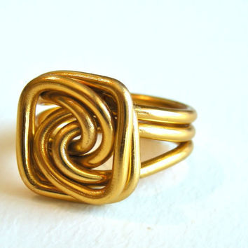 Wire Square Knot Ring Custom Made by refreshingdesigns on Etsy