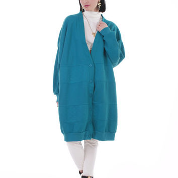 80s Vintage Duster Sweatshirt Oversized Slouchy Teal Blue Long Slouchy Cardigan Jumper Retro Hipster Plus Size Clothing Women Size 2X 3X