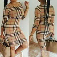 Women's Trendy Khaki Plaid Print Dress F