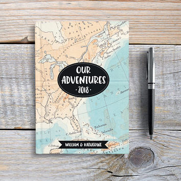 Custom Travel Journal, Hardcover Notebook, Sketchbook, Personalized Writing Journal, Map Journal, Unique Gift Under 20 - Our Adventures