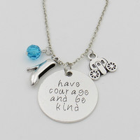 "Cinderella movie inspired vintage necklace ""Have courage and be kind"" Fairy Godmother Glass Slipper Magic Pumpkin Car Pendant"