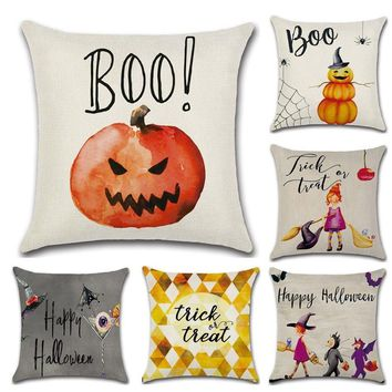 Funny pumpkin little girl witch Halloween decoration for home party  pillow case Cushion Cover seat chair sofa for kids gift