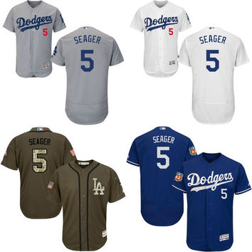 Grey green white blue Corey Seager Authentic Jersey , Men's #5 Los Angeles Dodgers Flexbase Collection