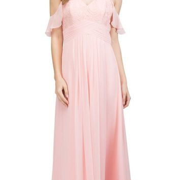 4ba5232e15a Blush Long Formal Dress with Flounce Cold-Shoulder