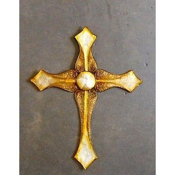 "Large 29"" x 23 Beautiful Christian Diamond Sea Shell Wall Cross Ocean Primative"