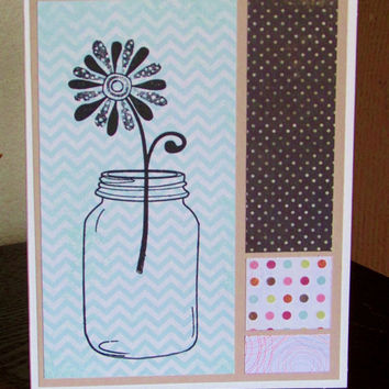 Mason Jar with Flower on Aqua Chevron Print Designer Paper Handmade and Handstamped Birthday, All Occasion Card