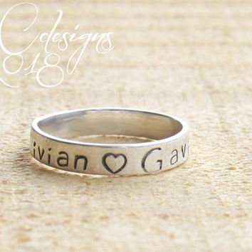 Sterling Silver Rings, Stacking Rings, Engraved Ring, Custom Ring, Personalized Ring, Personalised Gift, Sterling Silver Rings for Women
