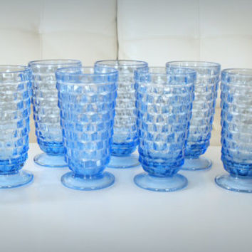 9 VINTAGE ICE BLUE Tumblers - 14 oz Footed Water Goblet - Fostoria Whitehall - Formal Drinking Glasses - Mid Century Holiday Table & Bar