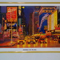 Matthew Popielarz  (1926 - 2012) New York Evening on 7th Ave 1995 Pencil Signed Numbered Giclee Print w COA
