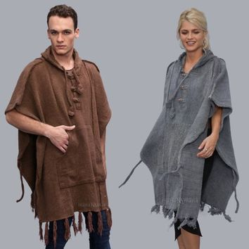 mens poncho- Hippie cotton knitted - Cozy - - Hood - Elf  - Shawl knitted - stonewashed