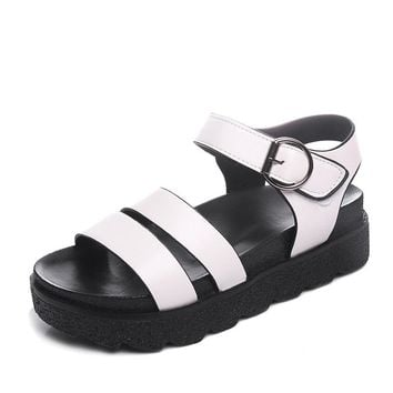 Women Summer Sandals New Women Solid Peep Toe Platform Flat Shoes Female Casual Buckle Strap PU Easy Match Sandals