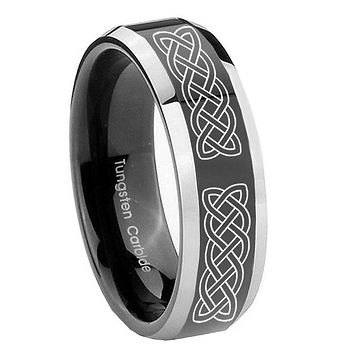 10MM Beveled Two Tone Celtic Knot Shiny Black Middle Tungsten Men's Ring
