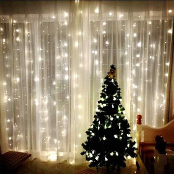 3Mx3M 304LED Window Curtain Lights String Fairy Lamp Wedding Party Decor