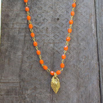 Orange Beaded Necklace Bridesmaid Necklace Orange Necklace Gold Leaf Pendant Gold Pendant FeelGoodJewelry Beaded Necklaces