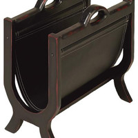 Sharp Leather N Wood Magazines Paper Rack Stand New