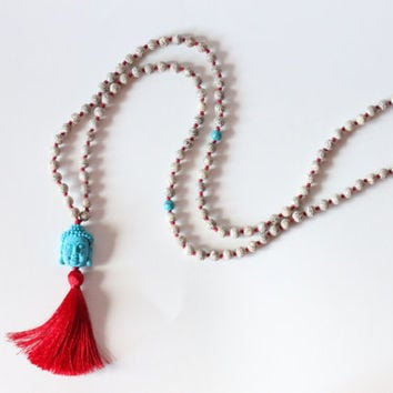 108 Hand-Knotted Lotus Seed Beads with Carved Howlite Buddha Head and Silk Tassel
