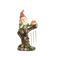 "15.75"" Forest Gnome w- Solar Powered LED Lighted Birds Outdoor Patio Garden Wind Chime Statue"