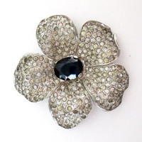 1940s Crown Trifari Rhinestone Flower Clip  // Sapphire Stone Center Pin Brooch Dress Clip