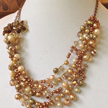 handmade crochet golden unique one of kind statement bib party pearls necklace