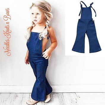 Girls Retro Flare Denim Overalls, Bohemian Bell Bottom Romper, Girls Backless Jumper Sizes 12 months thru size l6