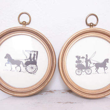 Vintage Pair of Victorian Silhouettes in Round Gold Frames