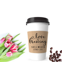 Coffee Cup Sleeve Stamp | Love Is Brewing Tag | Coffee Wedding Favor Tag | Personalized Wedding Stamp | Coffee Sleeve Bridal Tea Party Favor