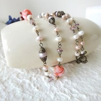 Pink Shell Necklace Cream Fresh Water Pearls Crystals Long Vintage | LittleApples - Jewelry on ArtFire