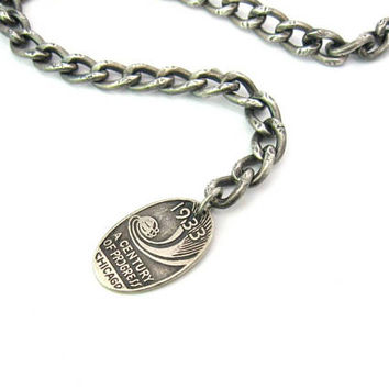 1930s Futuristic Charm Bracelet. Engraved Sterling Silver Curb Chain. 1933 Chicago World's Fair. Watch Fob. Unisex. Vintage Art Deco Jewelry
