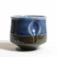 Blue and green stoneware tea bowl, chawan, yunomi, teacup, tea cup, small bowl, decorative bowl, father's day gift