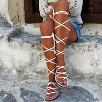 "High knee white gladiator sandals with braided straps.Bridal shoes Fully Customizable ""SELENE"" SES11"