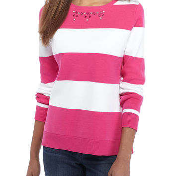 Crown & Ivy™ Striped Jewel Neck Sweater