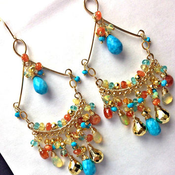 Colorful Chandelier Earring, Turquoise Multicolor Gemstone Wire Wrap Earring, Boho Chic, Statement Earring, Ethiopian Opal, Large Chandelier
